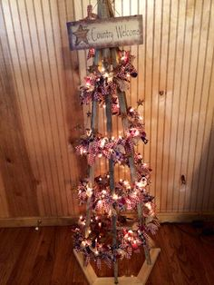 Primitive Tobacco Stick Tree #primitive #crafts #tobaccosticktree #raggarland…