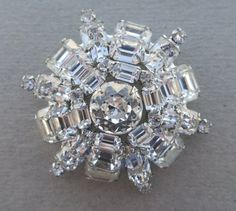 VINTAGE WEISS Art Deco Rhinestone Brooch by VintageVogueTreasure, $50.00