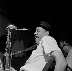 Dexter Gordon and Alfred Lion in a photograph that became the cover for Gordon's A Swingin' Affair recording session, August 29, 1962 (photo by Francis Wolff)