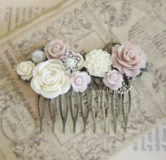 Mauve Floral Comb Wedding Hair Accessories Comb Blush Pink Pastel Plum White Soft Colors Dreamy Romantic Bridal Headpiece Bridesmaid Gift PM