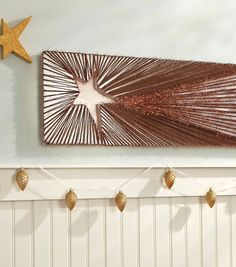Shooting Star Wall Art - Just add nails and yarn and you have your very own DIY nail and yarn art!