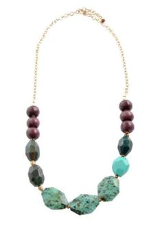 African Turquoise, Indian Agate and eggplant colored porcelain necklace, by Barse Jewelry