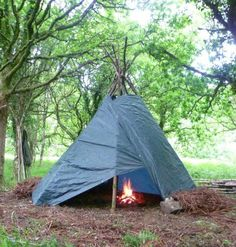 Tarp tipis are relatively quick to erect, are spacious, thermally efficient with a fire and can be good for all seasons - including deep winter. Just to prove how quick, simple (and cheap) they can...