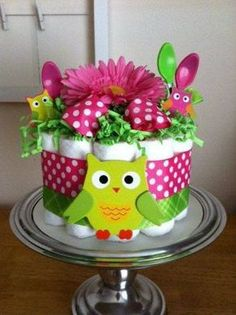 Bright Pink and Lime Green Owl Mini Diaper Cake - Baby Girl Shower Gift, Single Tier Baby Shower Verde, Fiesta Baby Shower, Shower Bebe, Girl Shower, Diaper Shower, Baby Shower Diapers, Baby Shower Cakes, Baby Shower Parties, Baby Shower Gifts