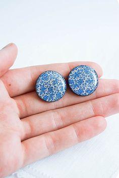 Blue flowers post earrings by Lepun from Ukraine