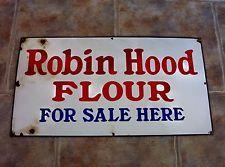 Vintage Robin Hood Flour For Sale Here Porcelain Sign Old Antique Advertising