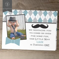 Little Man Mustache Party birthday invitations // Little Man birthday party // mustache / bow tie / Argyle//  by greylein