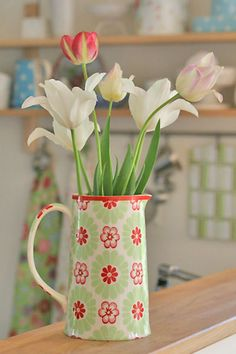 More tulips from the garden, and a new pitcher from Greengate.