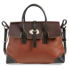 Dooney & Bourke 'Verona Large Elisa' Grained Leather Satchel ($348) ❤ liked on Polyvore featuring bags, handbags, amber, brown purse, brown satchel, color block purse, structured satchel handbag and structured handbag