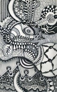 Making symmetrical images from irregular tangled drawings