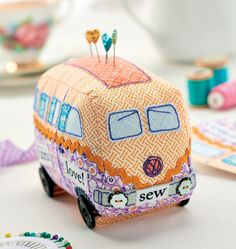 Too cute! Make a Campervan Pincushion to park right next to your sewing machine.
