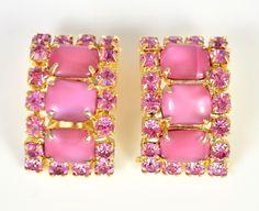 Vintage Earrings 1950s Pink Satin Glass & Goldtone Retro Bridal Jewellery | eBay