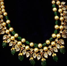 Polki ruby and emerald necklace