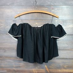 boho chic off the shoulder crop top | black - shophearts - 1