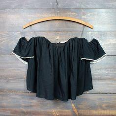 boho chic off the shoulder crop top | black - shophearts - 1