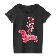 キュートなハートマークとダックスフンドのシルエットTシャツ | デザインTシャツ通販 T-SHIRTS TRINITY(Tシャツトリニティより。可愛いハートマークが集まってできたミニチュアダックスフンドのデザインTシャツ。お洒落に!キュートに!シンプルに!ハートマークとダックスのデザインTシャツはどうでしょうか? #ミニチュアダックスフンド