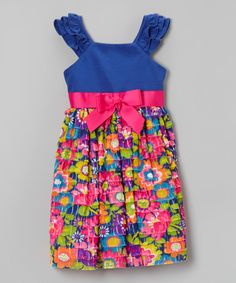 Look at this Sweet Heart Rose Royal Blue & Rainbow Floral Ruffle Dress - Toddler & Girls on #zulily today!