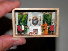 Vintage Micro Miniature Room Box Signed Hermania Anslinger Fireplace Dog Wood