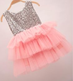"The ""Gigi"" Shimmer Silver Sequin Bow Baby Toddler Dress - Medium Pink - Angora Boutique - 2"