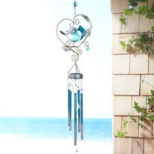 LED Solar Blue Bird Wind Chimes
