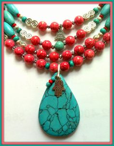 Turquoise Necklace Coral Native Indian with by CiaoBellaJoyaJewels, €75.00