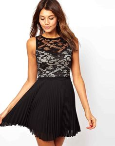 Elise Ryan | Elise Ryan Lace Skater Dress with Pleated Skirt at ASOS