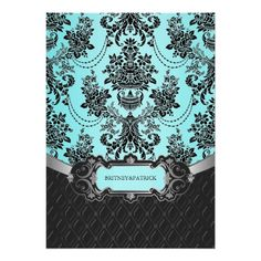 Black Damask Tiffany Blue Wedding RSVP Cards Personalized Invite by Nature Prints Wedding Reception Cards, Wedding Rsvp, Wedding Save The Dates, Wedding Ideas, Dream Wedding, Wedding Stuff, Wedding Cards, Wedding Planner, Tiffany Blue Invitations