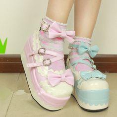 Lolita Princess Ice-cream Pump Check it from bio 🎊 Harajuku Girls, Harajuku Fashion, Kawaii Fashion, Lolita Fashion, Cute Fashion, Pastel Fashion, Cream Shoes, Kawaii Shoes, Kawaii Outfit