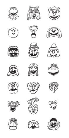 muppets faces for cupcake toppers! Jim Henson, Colouring Pages, Coloring Books, Sesame Street Muppets, Muppet Babies, Fraggle Rock, The Muppet Show, Rainbow Connection, Kermit The Frog