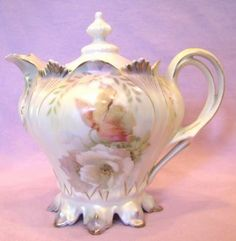 RS Prussia Syrup Pitcher Footed Mold 627 Floral design