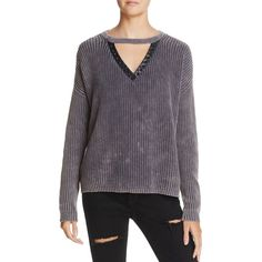 Vintage Havana Studded Cutout Sweater ($77) ❤ liked on Polyvore featuring tops, sweaters, washed gray, cutout tops, vintage havana, cut out sweater, grey sweater and grey top