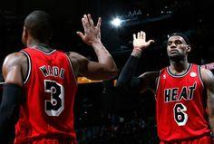 NBA - National Basketball Association Lebron James and Dwyane Wade I Love Basketball, Basketball News, Basketball Legends, Basketball Association, Lebron James Miami Heat, Nba Miami Heat, Lebron And Wade, Nba Schedule, King Lebron