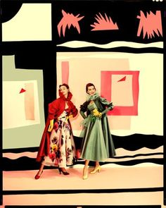 Cecil Beaton for Vogue photo of Jean Patchett and friend in front of a painting by Matisse. Mode Vintage, Vintage Vogue, Vintage Fall, Vintage Barbie, Vintage Style, Rodney Smith, Carmen Dell'orefice, Vogue Photo, English Fashion