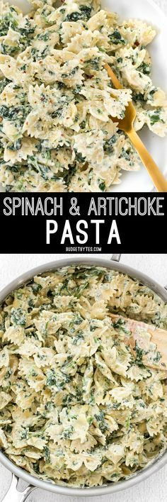 It's like having your favorite restaurant appetizer for dinner! Spinach artichoke pasta is filling, flavorful, and creamy! /budgetbytes/