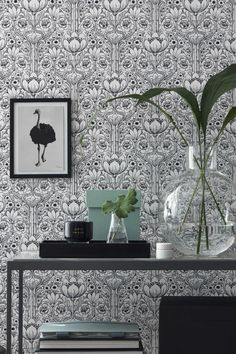 A unique take on the classic damask, this contemporary wallpaper that features ornate flowers is a wonderful feature wall option. Damask Wallpaper Living Room, Powder Room Wallpaper, Fabric Wallpaper, Wall Wallpaper, Easy Up, Grey And White Wallpaper, Interior Design Software, Room Of One's Own, Contemporary Wallpaper
