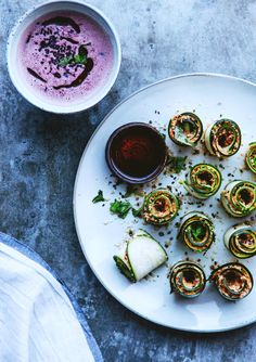 zucchini rolls and quick beet soup
