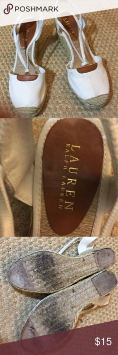 Ralph Lauren espadrilles  wedges 8 1/2 The insides of these look like they have never been worn , no dirt or any sign of wear on canvas part either , but there is wear on the bottoms as shown in pictures. Size 8 1/2 Lauren Ralph Lauren Shoes Espadrilles