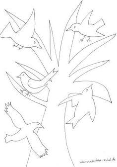 Schablonen/Ausmalen-Baum-mit-Vogeln