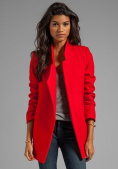 NICHOLAS Felted Red Wool Coat