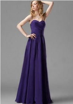 Formal gown in purple with sweetheart neckline