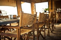 I love the laced back chairs (Singita Explore Mobile Tented Camp)