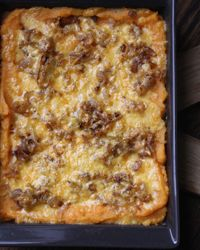 Mashed Sweet Potato Gratin with Smoked Gouda and Shallots | This healthy and delicious gratin is low on dairy, thanks to a combination of sweet potatoes and Yukon Gold potatoes, which create the perfect creamy texture.