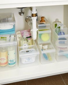13 Under Sink Organizers for Bathrooms and Kitchens - Easy Under Sink Storage Ideas Bathroom Sink Organization, Sink Organizer, Bathroom Storage, Under Kitchen Sink Organization, Medicine Organization, Storage Organizers, Stackable Plastic Storage Bins, Plastic Bins, Under Bathroom Sinks