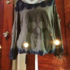 Tie dye sweatshirt Green and blue sweatshirt with studded skull on front. Holes down the shoulder. Good condition Vintage havana Tops Sweatshirts & Hoodies