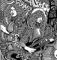 led zeppelin black white ink art illustration print