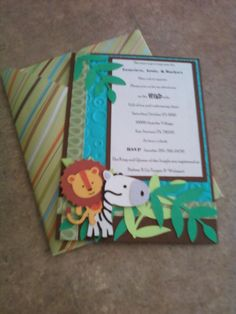 Jungle Baby Shower Invite $15.00 for 10 includes paper piecing, info printing , and envelope.