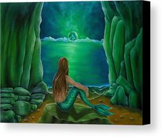 Mermaid's Cave - Faye Anastasopoulou - Oil on canvas painting - A contemplating, positively dreamy mermaid in a soft, feminine pose enjoying the comforting serenity and solitude of her mystical cave. Mermaid Cave, Wall Art Prints, Canvas Prints, Fine Art Posters, Art For Sale Online, Artwork Images, Contemporary Paintings, Art Oil, Fine Art America
