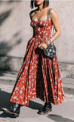 LOOKING JUST GORGEOUS IN HER BEAUTIFUL MAXI, WITH SHOE STRING STRAPS, WORN WITH AWESOME BLACK BOOTIES & FABULOUS PATTERNED, LITTLE BLACK SHOULDER BAG!