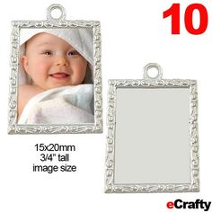 "10 PACK DIY Photo Charms Scrolled Rectangle 1"" 28mm Holds 3/4"" Art JewelryCrafts"