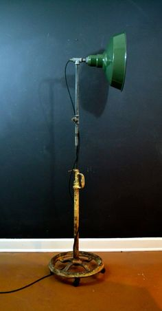 OOAK, Industrial Floor Lamp With Green Enamel Shade, One of a Kind Vintage Floor Lamp,